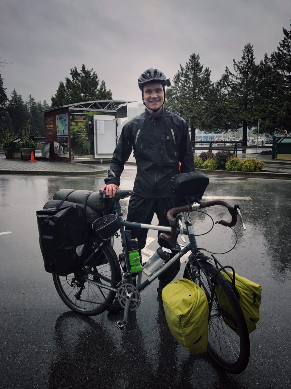 Cameron on his bike before departing Vancouver