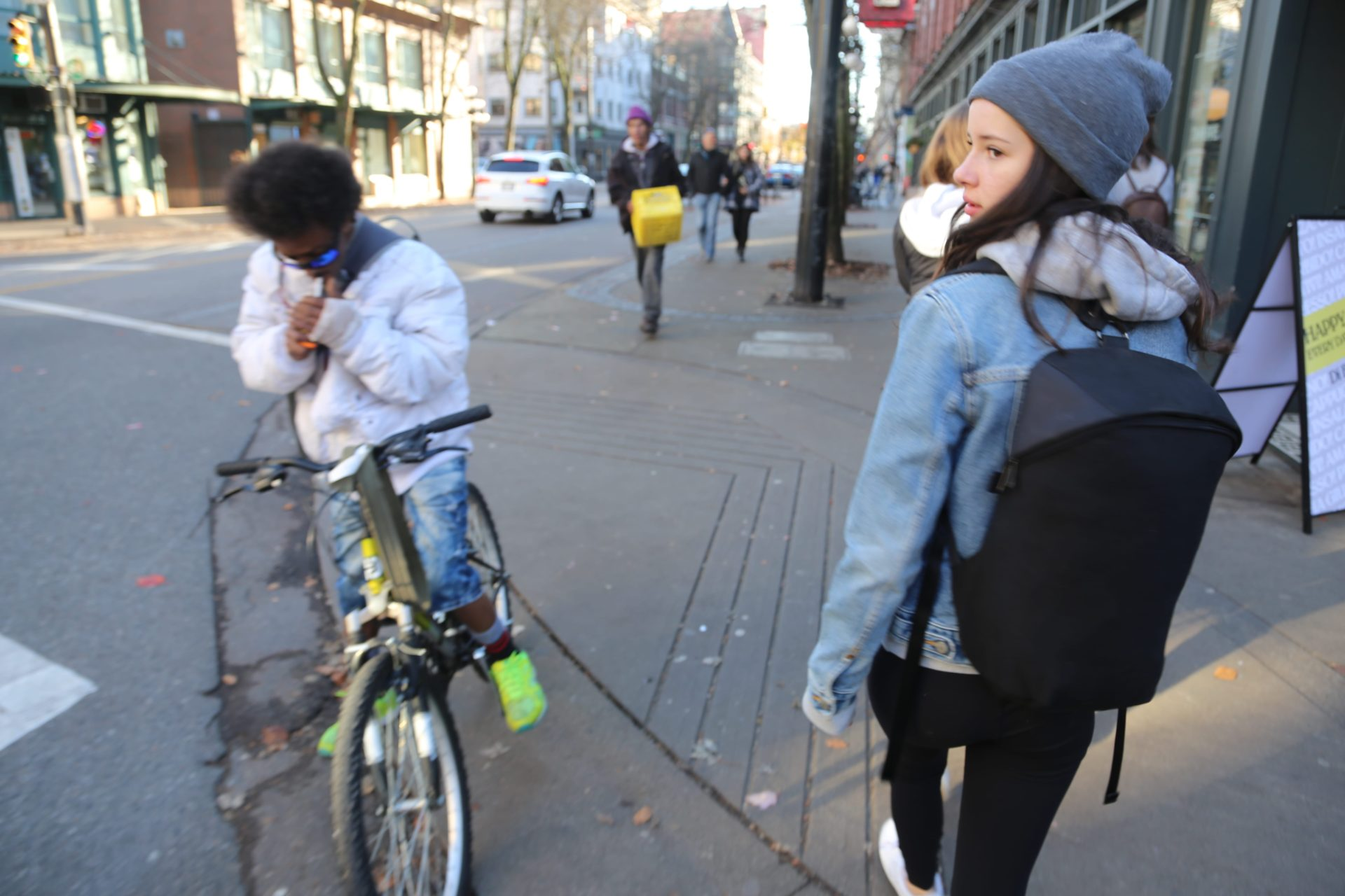 Neve taking the LBB for a test run in downtown Vancouver, BC