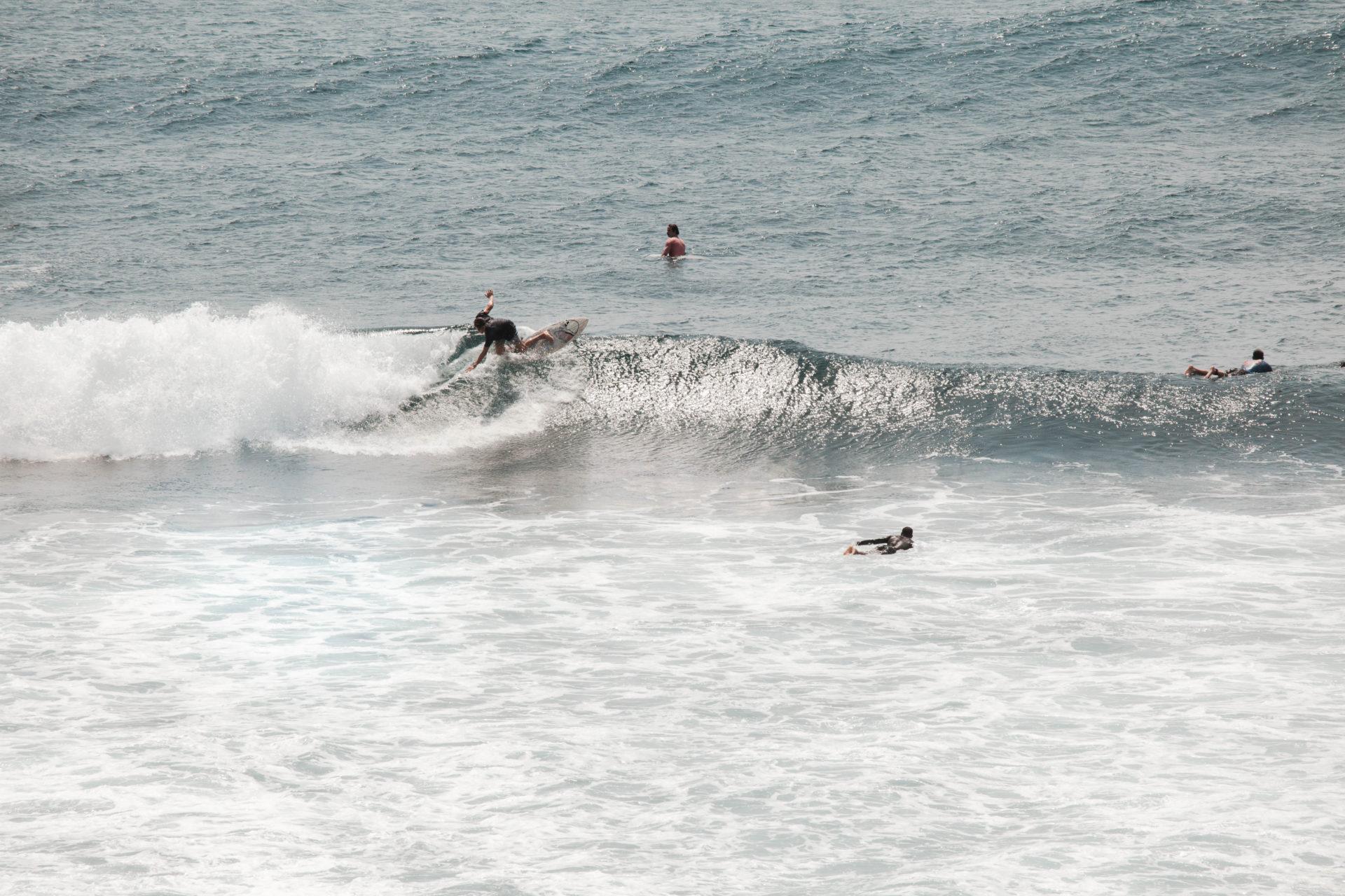 Surfing a break in Bali