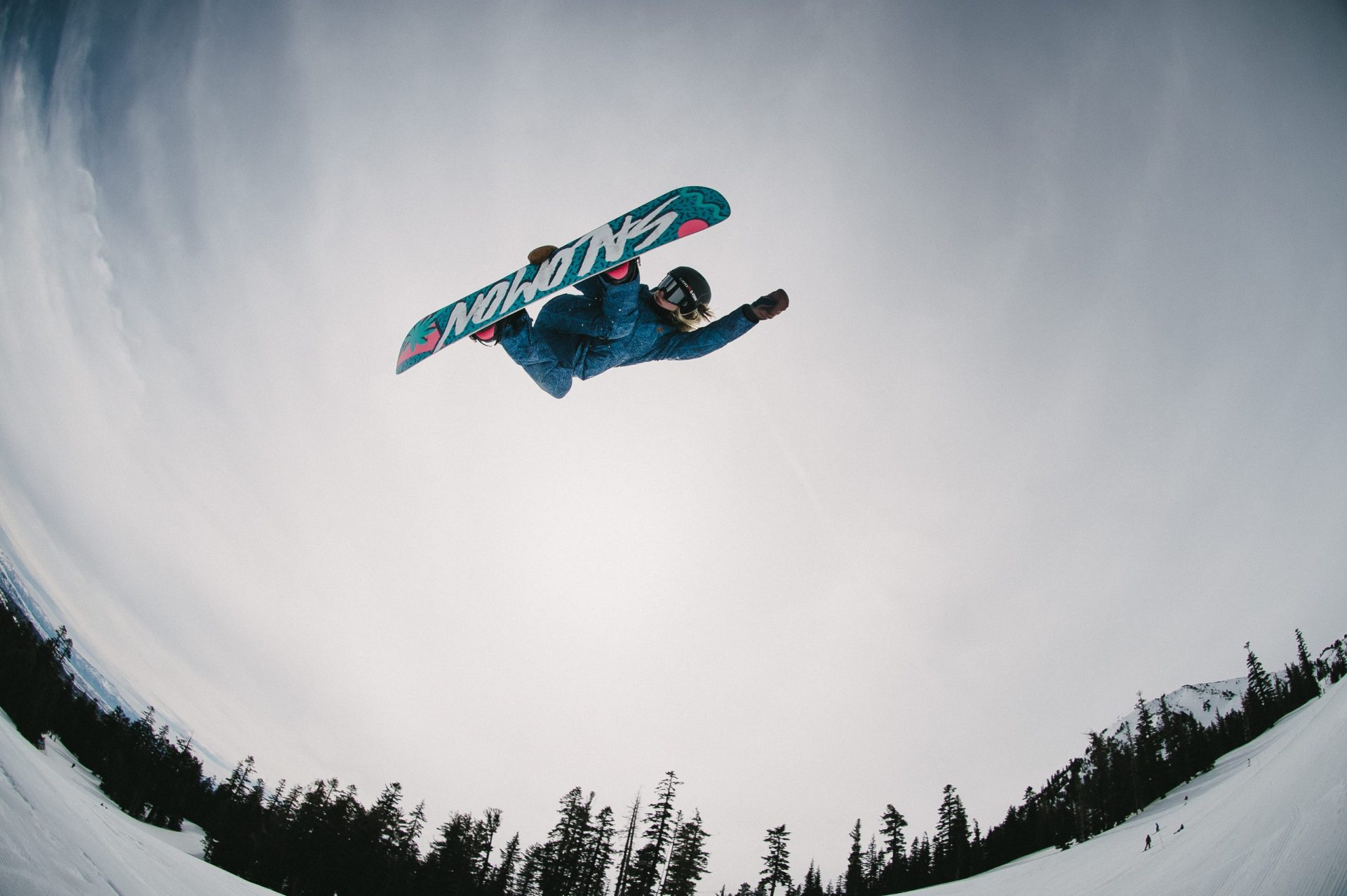 Catching some air on a snowboard