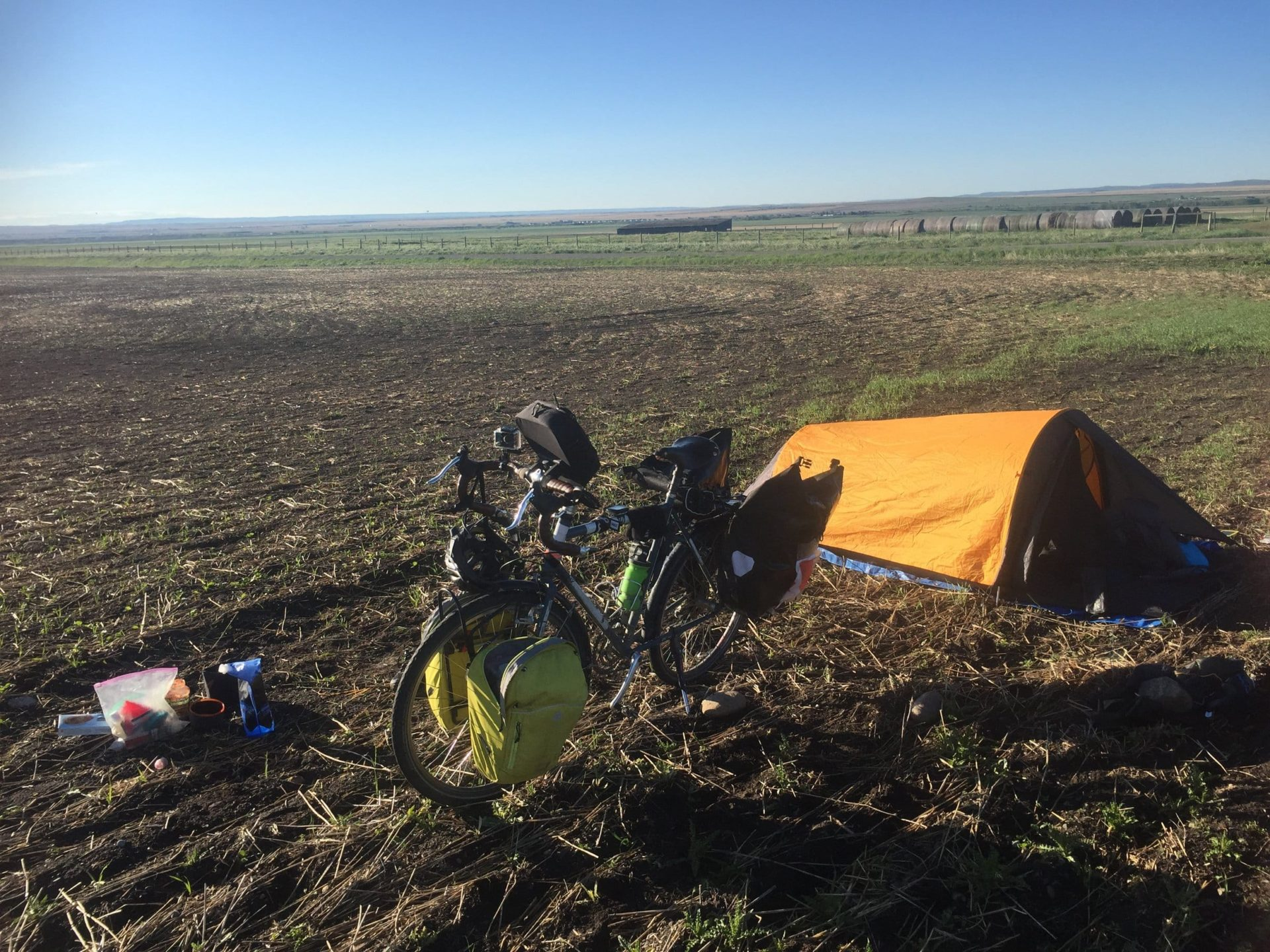 Camp setup in a friendly Saskatchewan farmer's field.