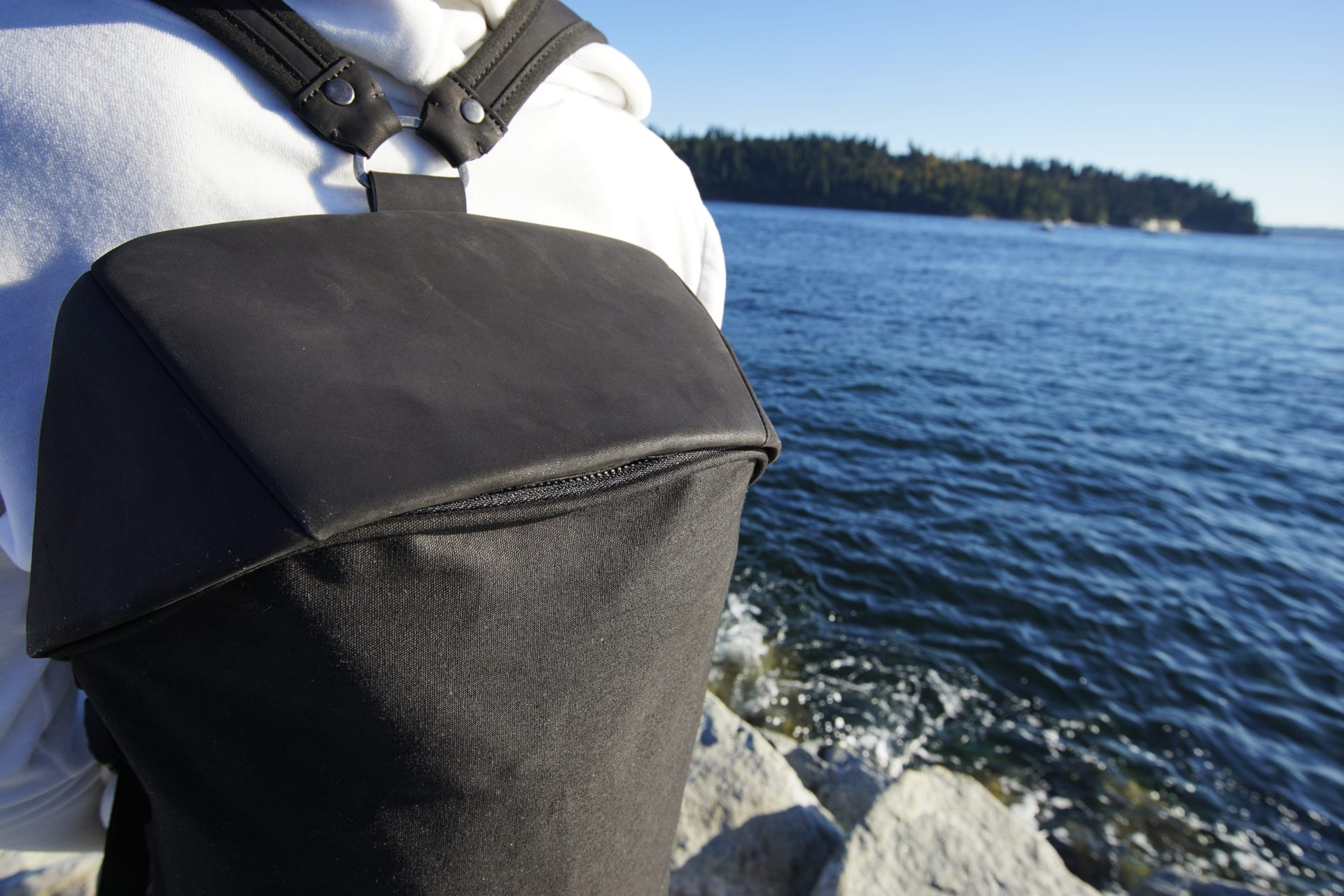 Little Black Bag by the ocean