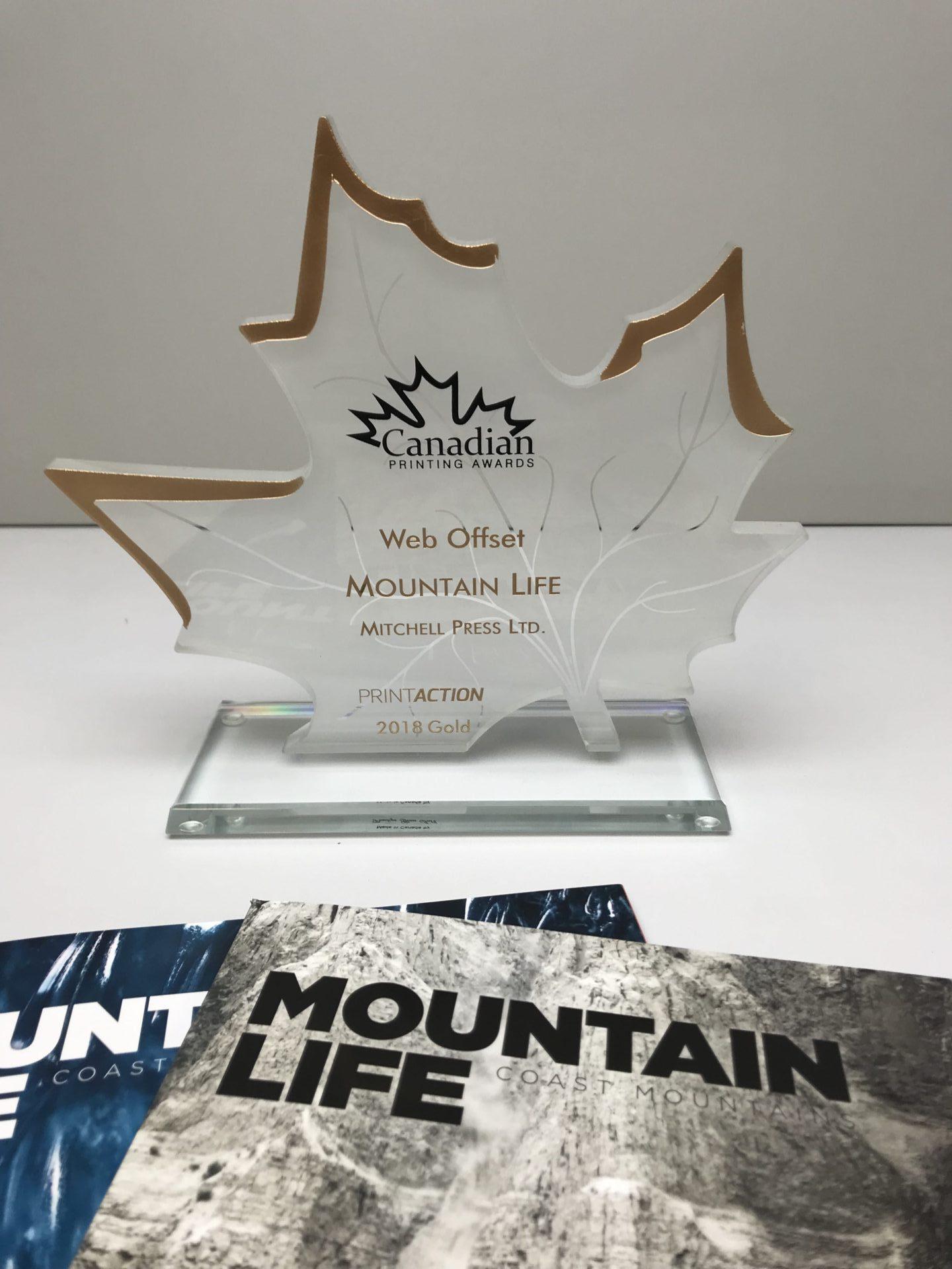 Close up of mag and award
