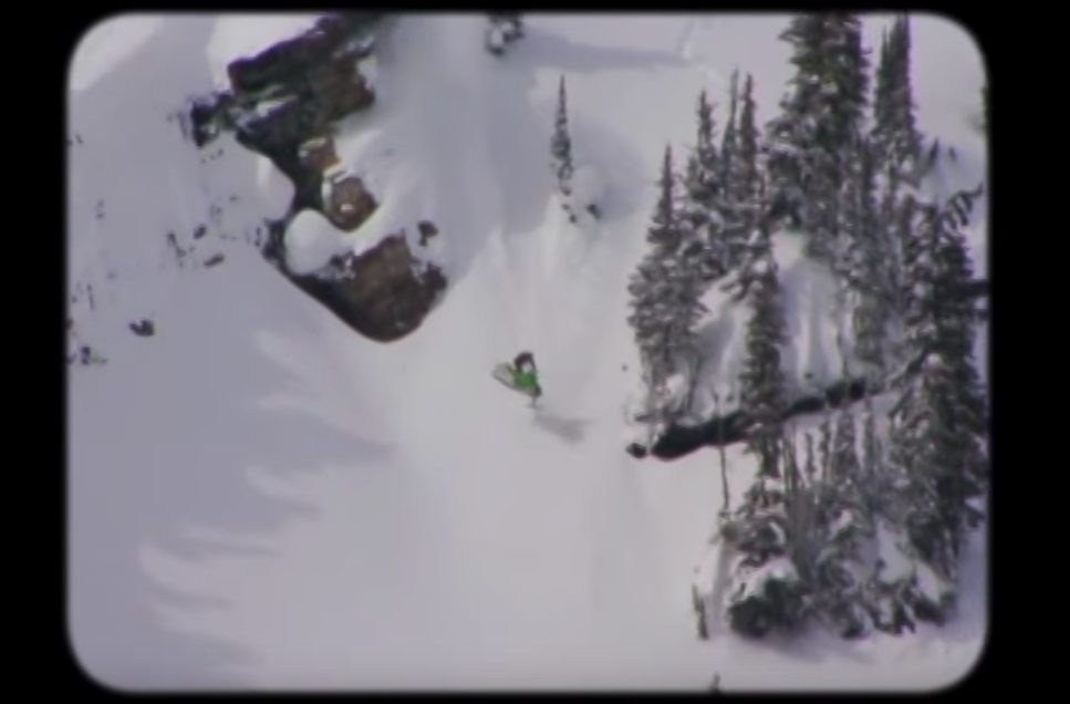 snowmachine landing sideways on slope