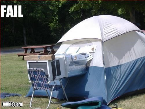AC sticking out of tent