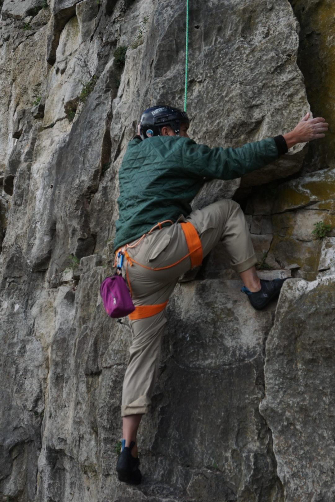 Hayley's dad climbing