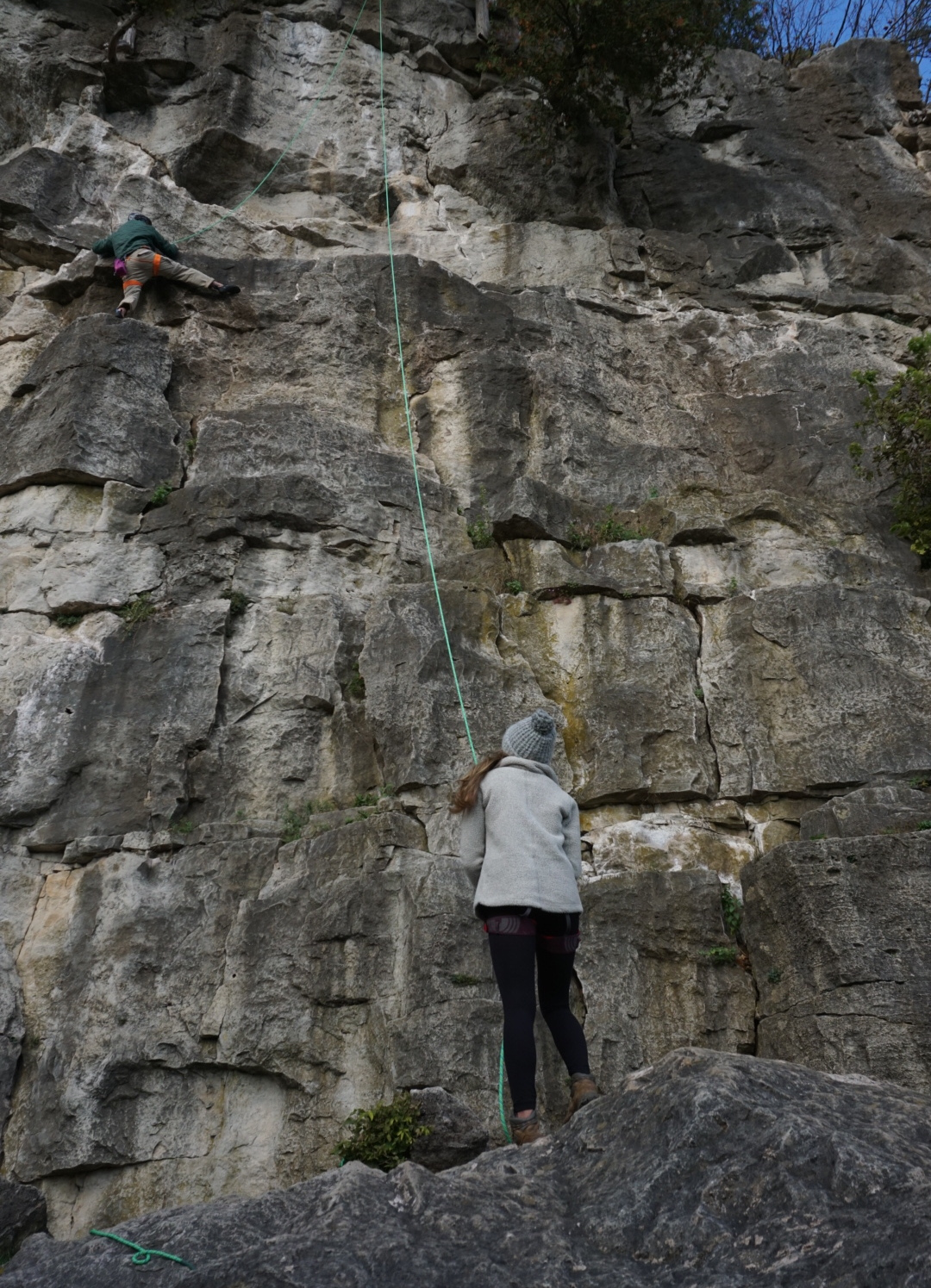 Hayley belaying her father