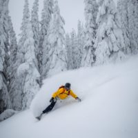 Brette Tippie snowboarding at Keefer Lake Lodge