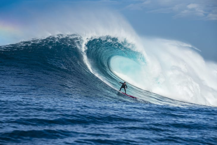 Greg Long surfing at Cortes Bank
