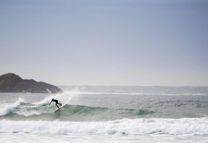 Mathea Olin Surfing in Tofino, British Columbia