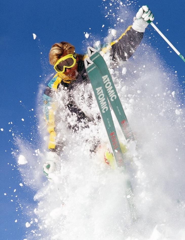 Man bursts through powder snow