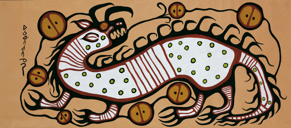 Norval Morrisseau drawing for Mountain Life Magazine article