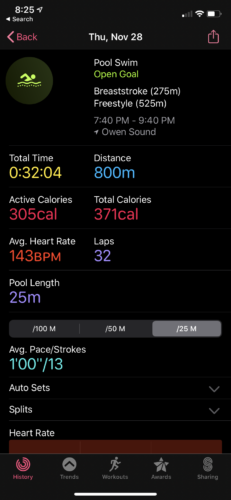 Indoor pool lap, stroke and time tracking. Water resistant to 50m