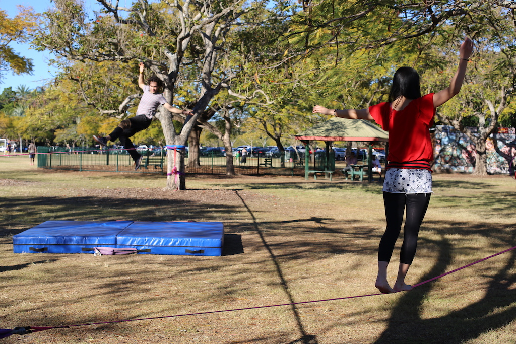 Slacklining for health and to improve balance