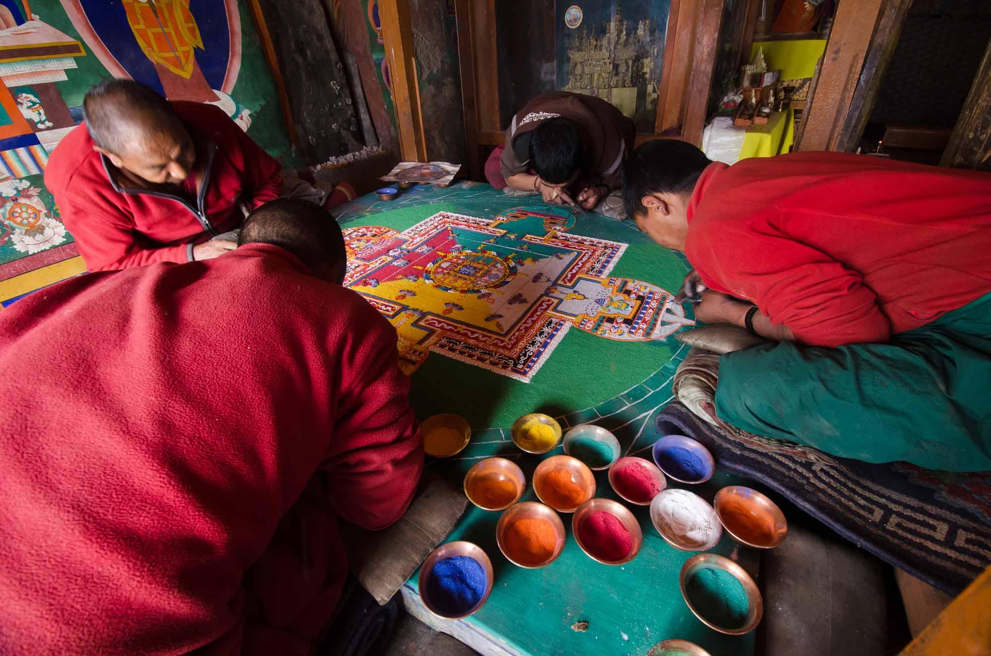 Blue-Sky-Kingdom-Family-Vacation-to-a-Buddhist-Monastery-KarshaGompa-BruceKirkby-prayer-mats