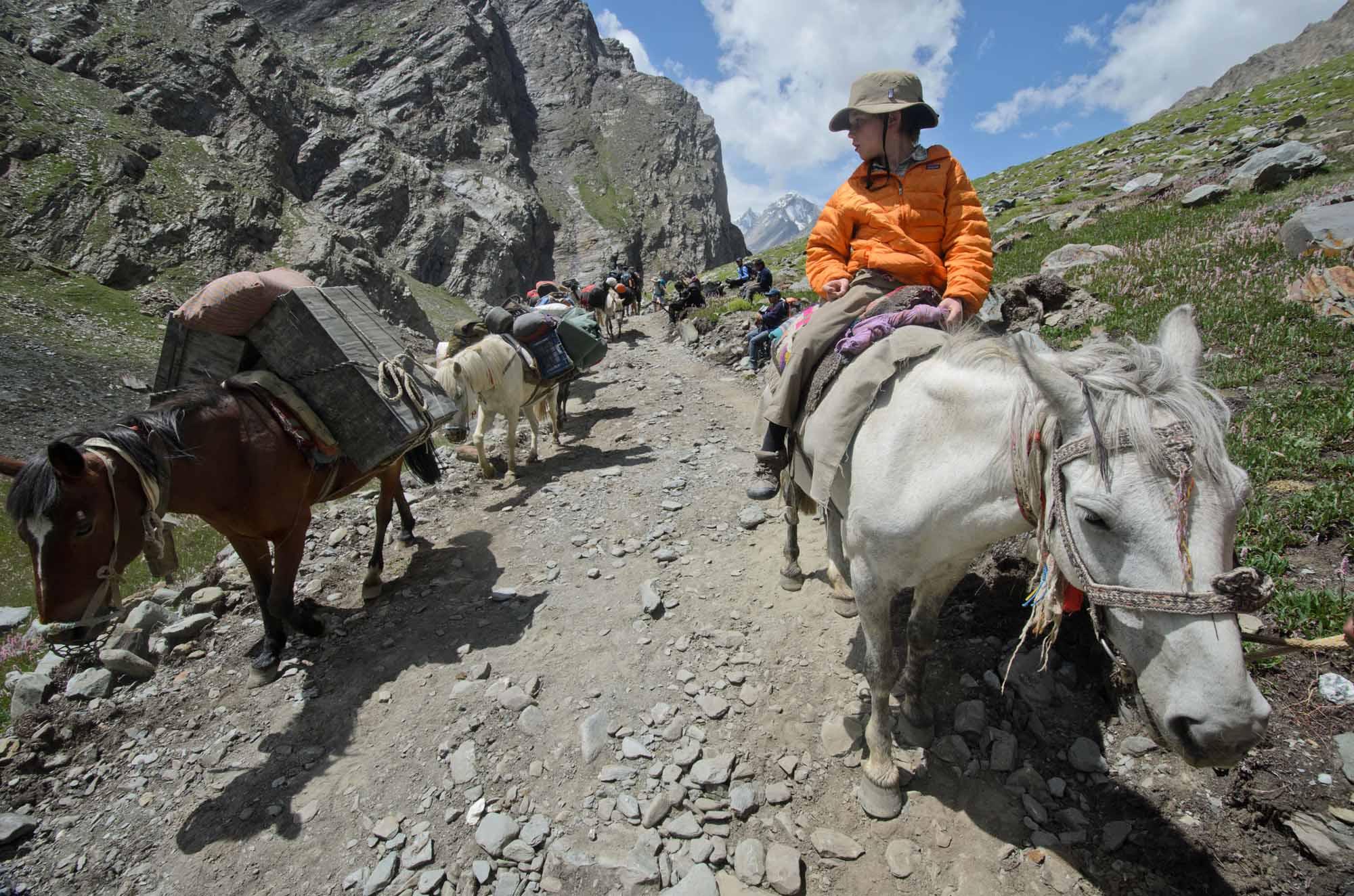 Blue-Sky-Kingdom-Family-Vacation-to-a-Buddhist-Monastery-KarshaGompa-BruceKirkby-trek-horses