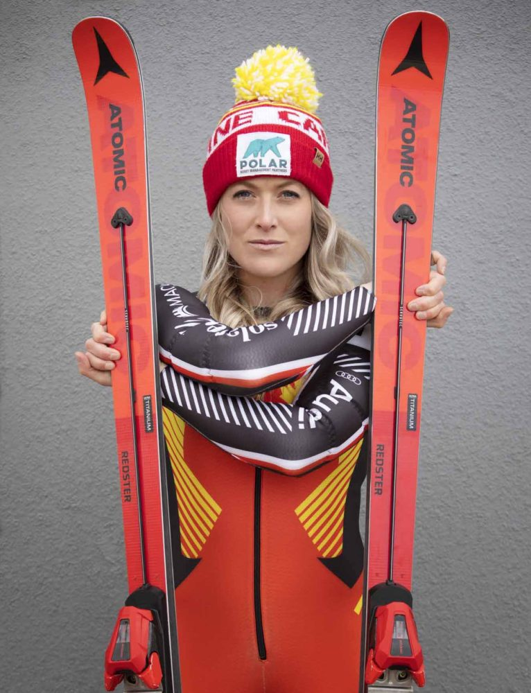 Erin-Mielzynski-Pandemic-Prep-World-Cup-Dreams-portrait-with-Atomic-skis