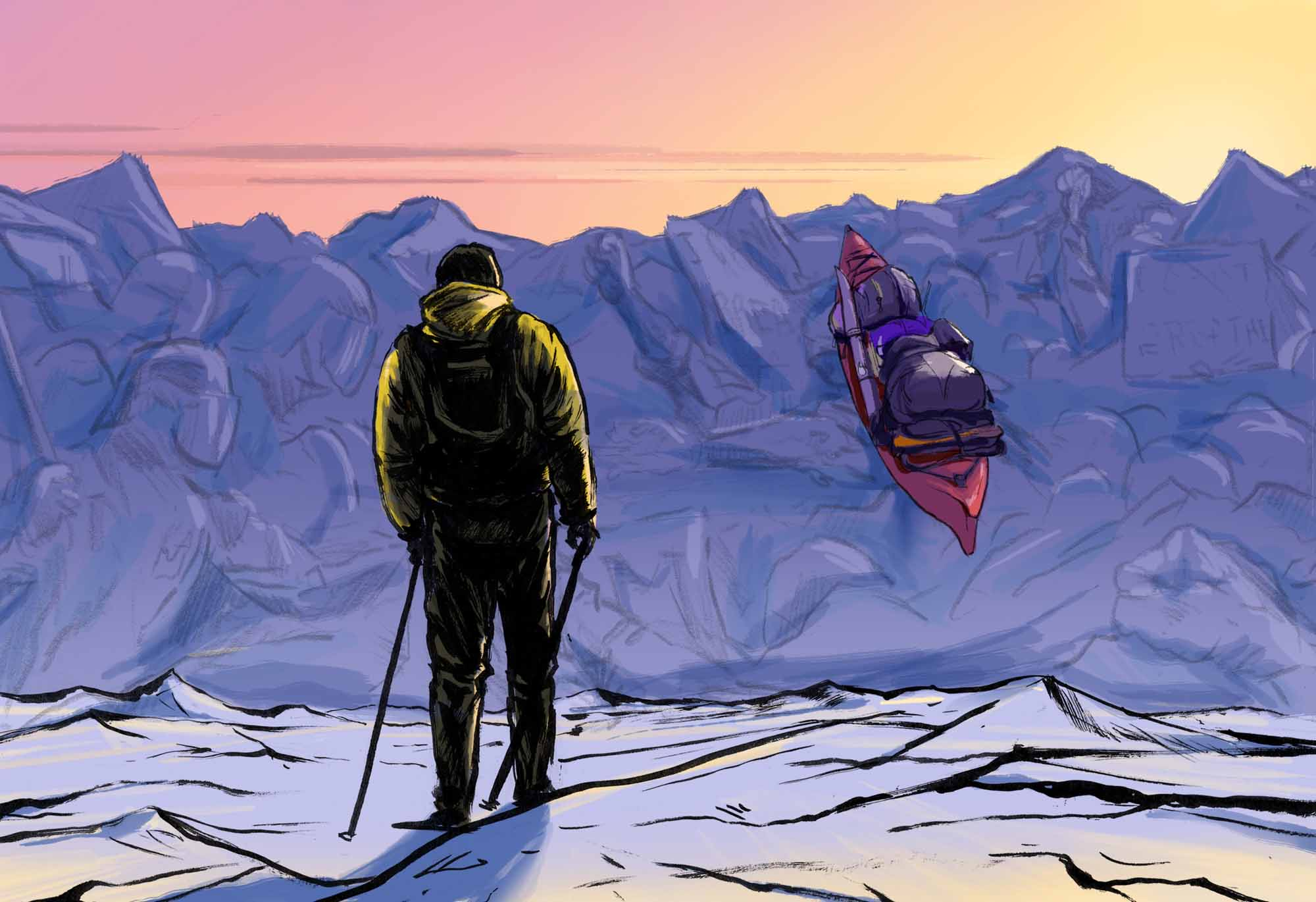 Bumps-and-Barriers-How-to-Navigate-the-Long-Strange-Trip-Dave-Barnes-illustration-kayak-in-ice