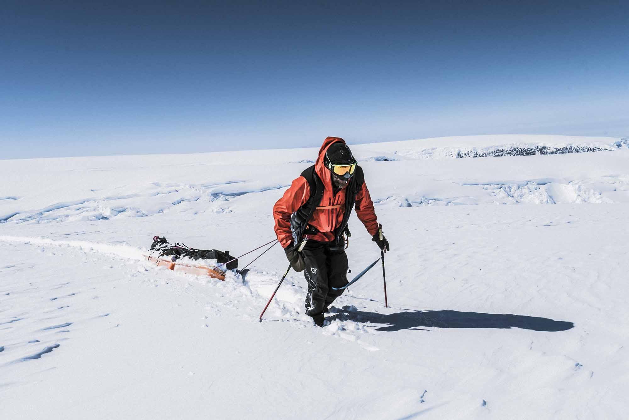 Polar-Quest-Exploration-Polaire-Exploring-Boundaries-in-Antarctica-Caroline-Cote-photo-man-and-sled