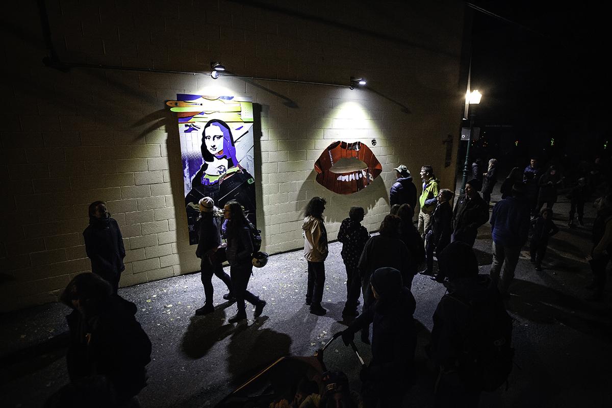 Revelstokes-Alley-Renaissance-Assemblage-art-alley-at-night-Buchanan