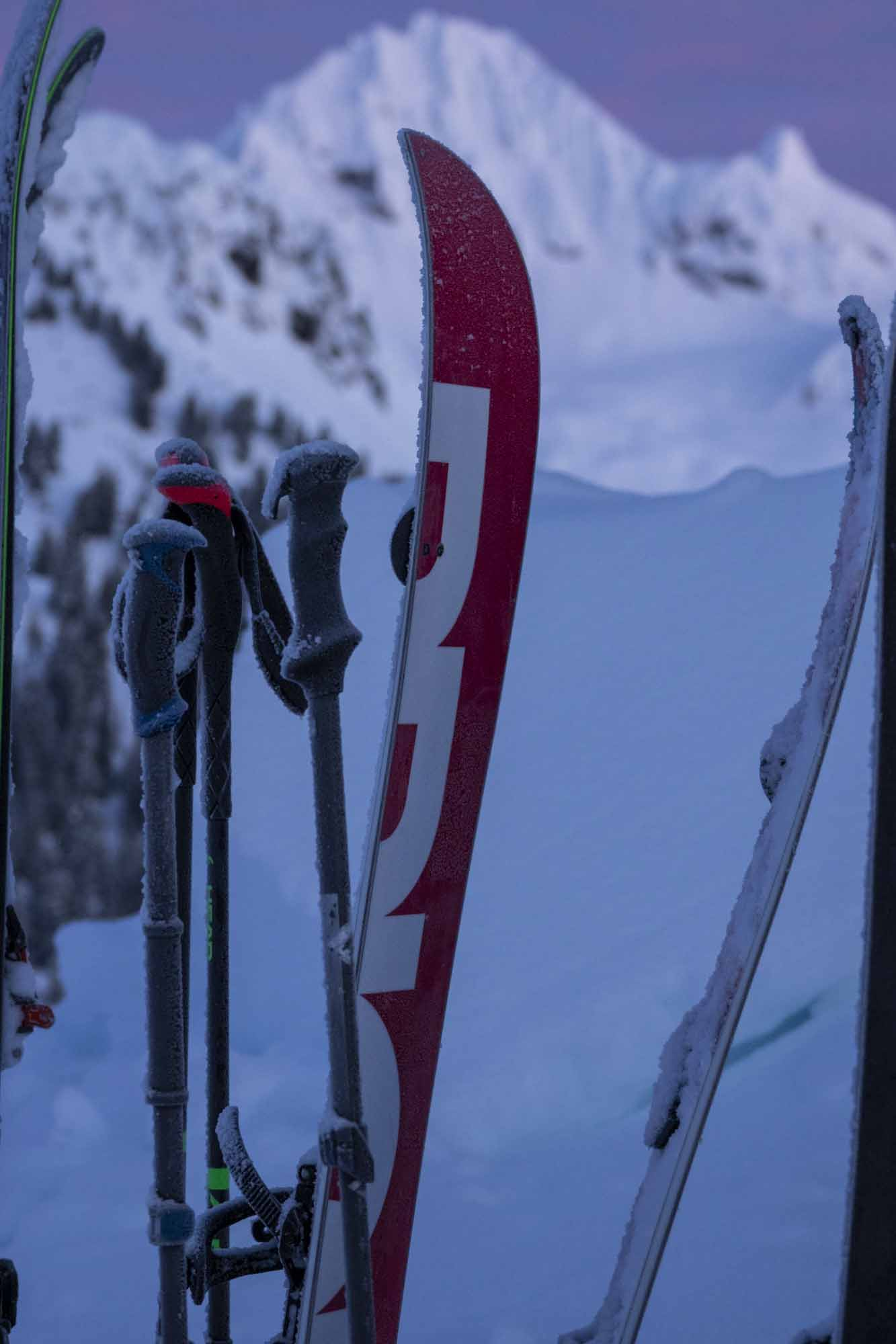 The-Garibaldi-100-Project-photo-by-BEN-HAGGAR-skis-sunrise