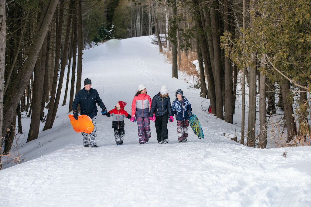 Bruce-County-Ontarios-Small-Town-Frontier-Colin-Field-Photo-family-walking-forest-path