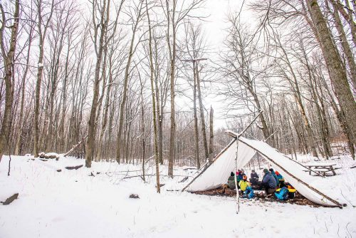 Nature-as-Teacher-Outdoor-Schools-Bring-Learning-Into-the-Elements-photo-by-Kristin-Schnelten-lean-to-shelter