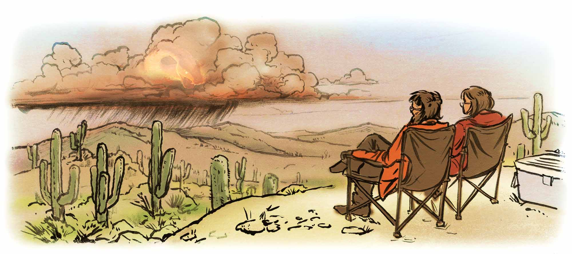 Big-Brain-No-Tools-Searching-for-Survival-couple-sitting-desert-Dave-Barnes-illustration