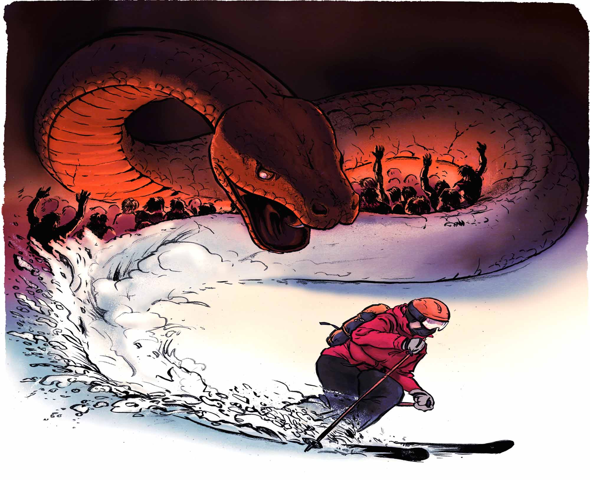 Big-Brain-No-Tools-Searching-for-Survival-snake-and-skier-Dave-Barnes-illustration