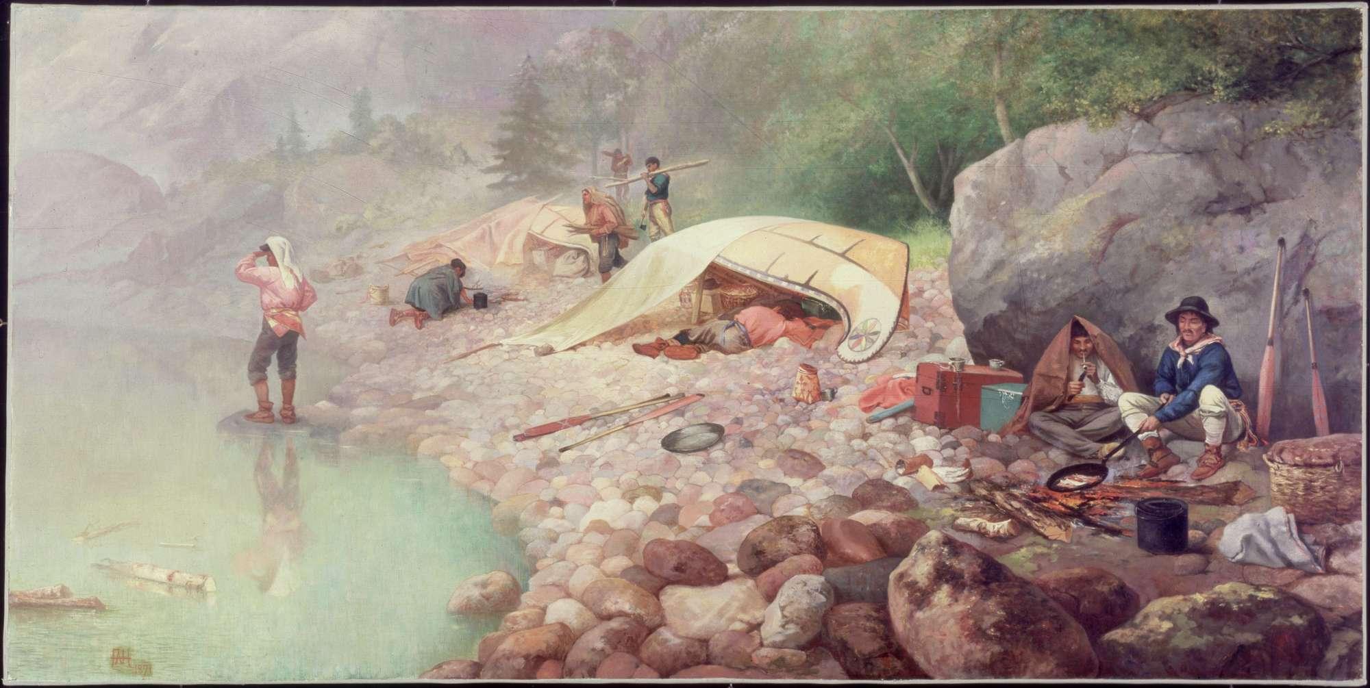 Voyageurs-at-dawn-Frances-Hopkins-WikimediaCommons